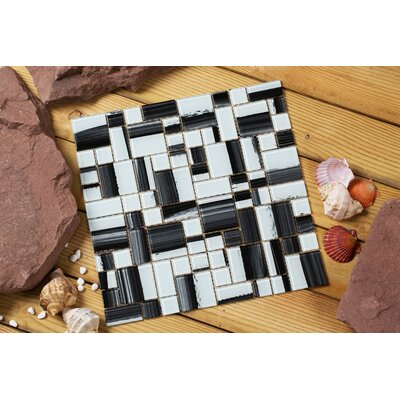 Stella 12 x 12 Glass Mosaic Tile in White/Black