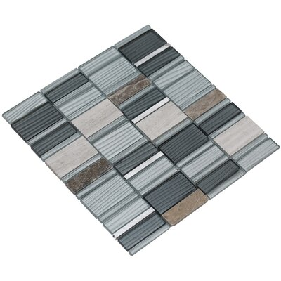 Tallia 12 x 12.5 Glass/Stone/Metal Mosaic Tile in Blueish Gray/Silver