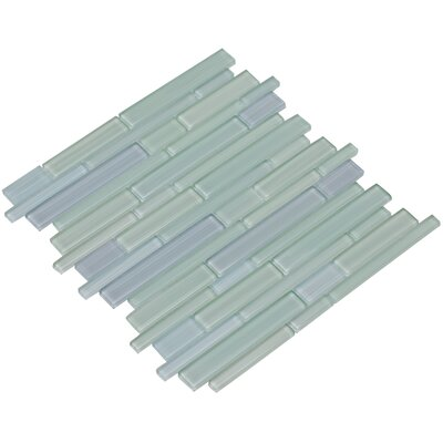 Mahi 12 x 12 Glass Mosaic Tile in Sky Blue/Foam Green