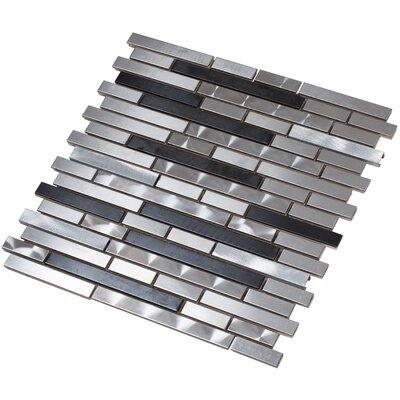 Ariya 12 x 13 Metal Mosaic Tile in Black/Silver