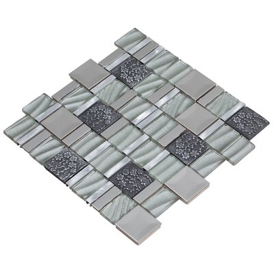 Vitray 12 x 12 Mixed Material Mosaic Tile in Silver