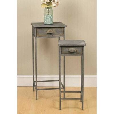 2 Piece Metal 1 Drawer Nightstand Set