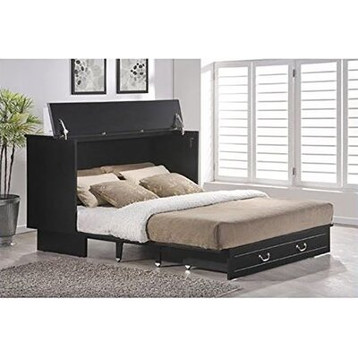 Essie Queen Storage Murphy Bed with Mattress Color: Black