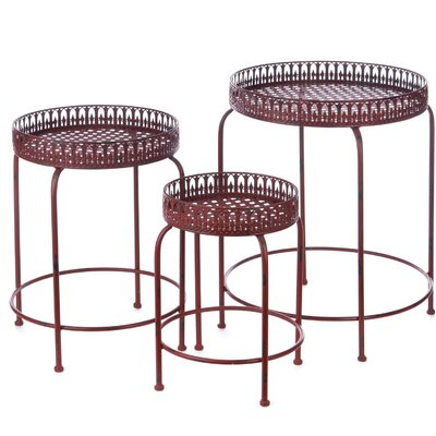 3 Piece Nesting Tables Finish: Red