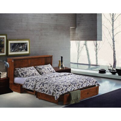 Planas Queen Storage Murphy Bed with Mattress Color: Cherry