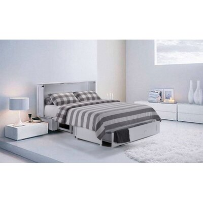 Planas Queen Storage Murphy Bed with Mattress Color: White