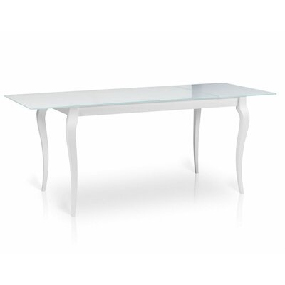 Bresso Glass Top Extendable Dining Table Finish: White
