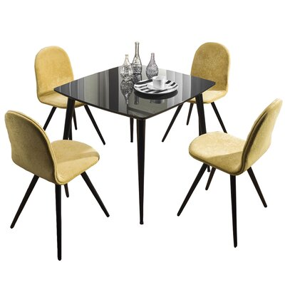 Bresso Glass Top Dining Table Finish: Black
