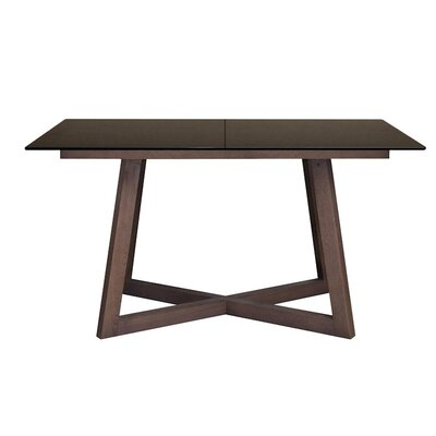 Jalon Glass Top Extendable Dining Table Top Finish: Black