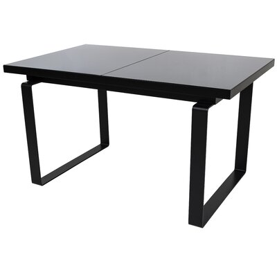 Shauna Glass Top Extendable Dining Table Finish: Black