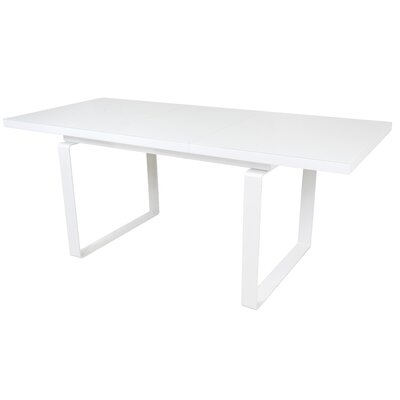 Shauna Glass Top Extendable Dining Table Finish: White