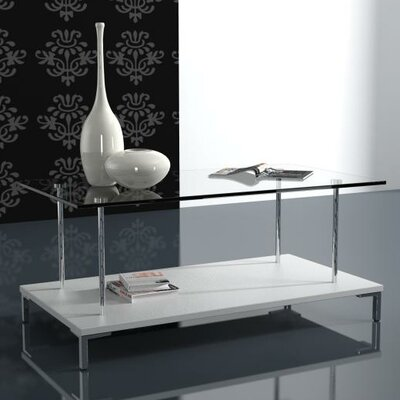 Amara Glass Top Coffee Table Finish: White