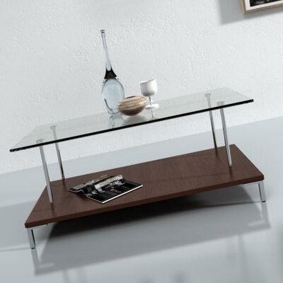 Amara Glass Top Coffee Table Finish: Dark Oak
