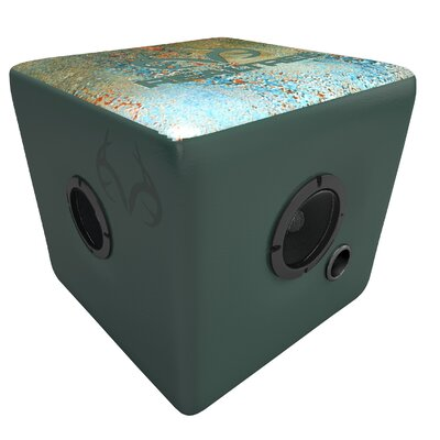 Realtree Speaker Cube Ottoman Color: Aqua