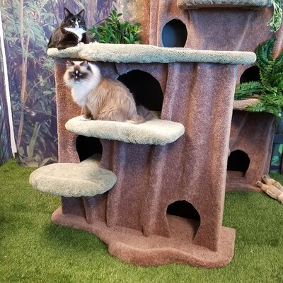 49 Cat Condo Body Color: Green, Perch Color: Ivory Tint