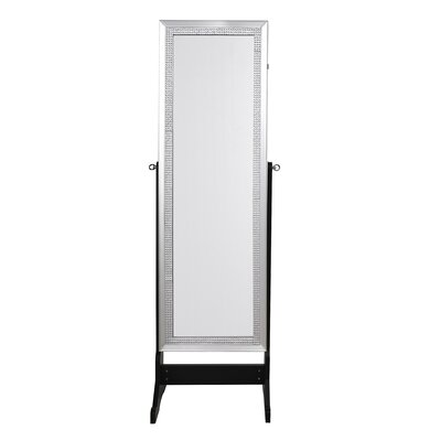 Pizzazz Full Length Jewelry Armoire with Mirror Color: Elegant Black