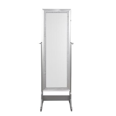 Pizzazz Full Length Jewelry Armoire with Mirror Finish: Classic Silver