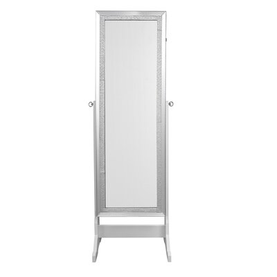 Pizzazz Full Length Jewelry Armoire with Mirror Color: Pristine White