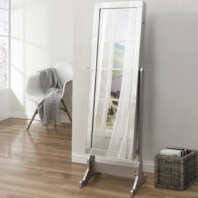 Dazzle Full Length Jewelry Armoire with Mirror Finish: Classic Silver