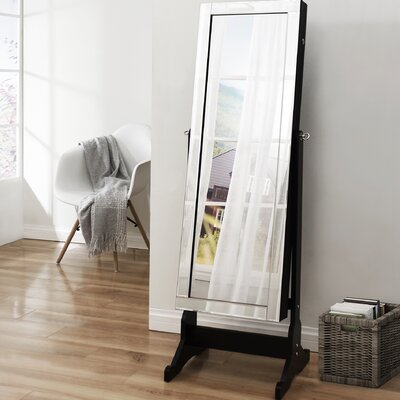 Dazzle Full Length Jewelry Armoire with Mirror Finish: Elegant Black
