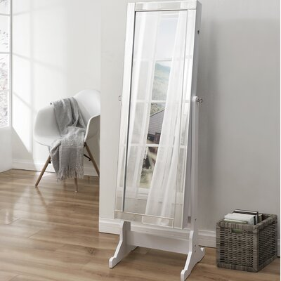Dazzle Full Length Jewelry Armoire with Mirror Finish: Pristine White