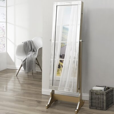 Dazzle Full Length Jewelry Armoire with Mirror Finish: Royal Champagne