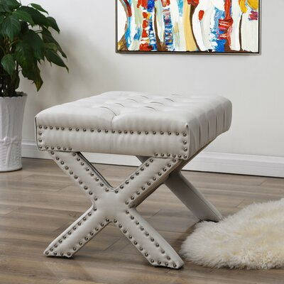 Kenny Button Tufted Nailhead Trim Ottoman Upholstery: Cream White
