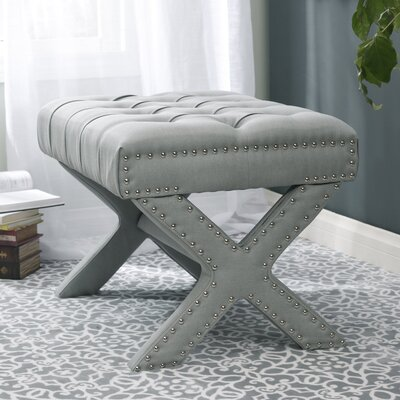 Kenny Button Tufted Cocktail Ottoman Upholstery: Light Gray