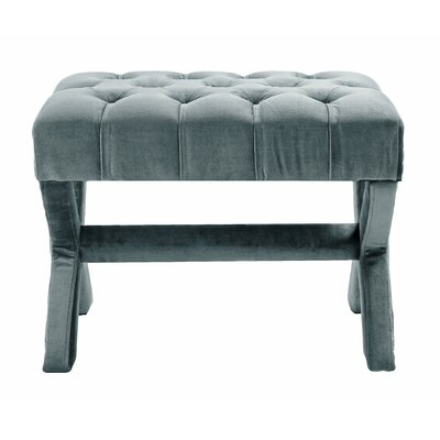 Kenny Button Tufted Nailhead Trim Ottoman Upholstery: Slate Blue