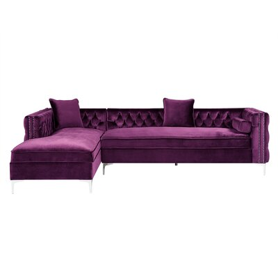Kaufman Tufted Sectional Upholstery: Purple, Orientation: Left Hand Facing