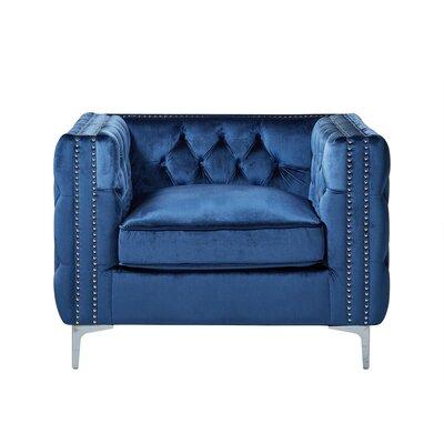 Leonardo Tufted Arm Chair Upholstery: Blue