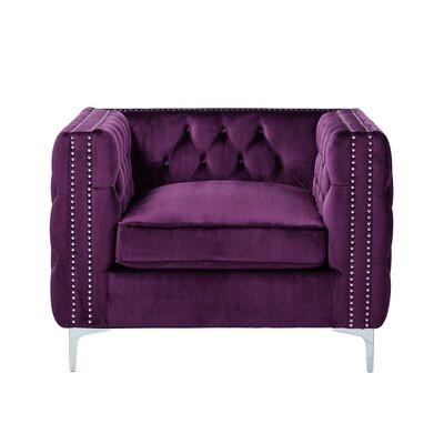 Leonardo Tufted Arm Chair Upholstery: Purple
