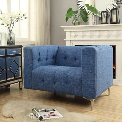 Seurat Tufted Arm Chair Upholstery: Blue