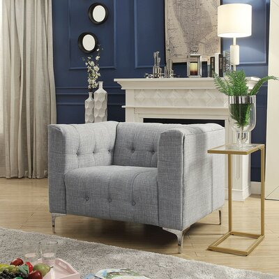 Seurat Tufted Arm Chair Upholstery: Light Gray