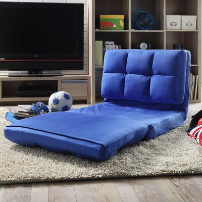Loungie Micro-Suede 5-Position Adjustable Convertible Flip Chair Color: Blue
