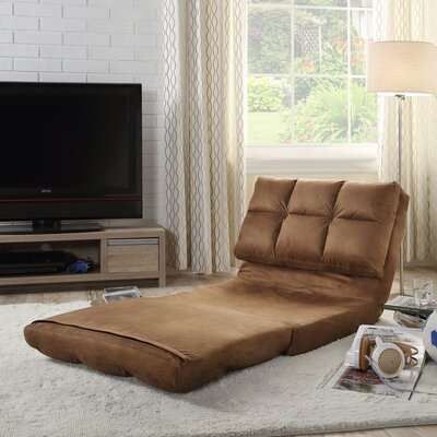 Loungie Micro-Suede 5-Position Adjustable Convertible Flip Chair Color: Brown