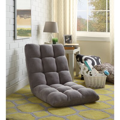 Loungie Supersoft Folding Adjustable Lounger Game Chair Color: Grey