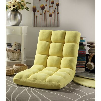 Loungie Supersoft Folding Adjustable Lounger Game Chair Color: Yellow