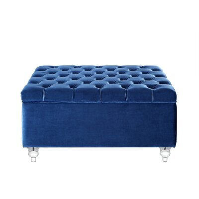 Bonview Oversized Button Tufted Storage Ottoman Upholstery: Blue