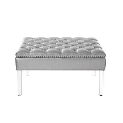 Shyla PU Leather Oversized Button Tufted Ottoman Upholstery: Silver PU Leather