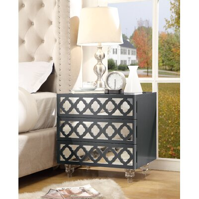 Ricardo 3 Drawer Nightstand Color: Dark Gray