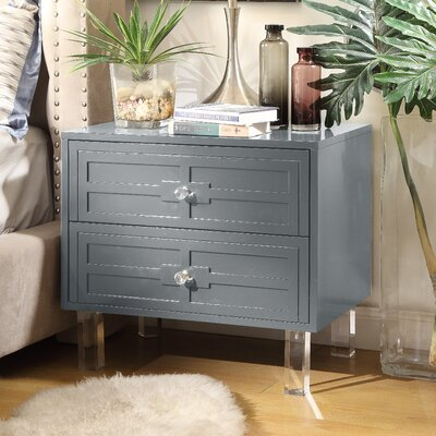 Bartholdi 2 Drawer Nightstand Finish: Dark Gray