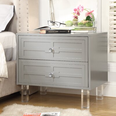 Admiranda 2 Drawer Nightstand Color: Light Gray