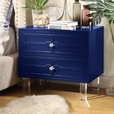 Bartholdi 2 Drawer Nightstand Finish: Navy