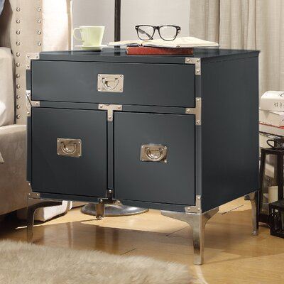 Marcelo 1 Drawer Nightstand Finish: Dark Gray