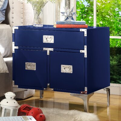 Marcelo 1 Drawer Nightstand Finish: Navy Blue