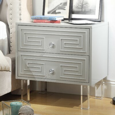 Beck 2 Drawer Nightstand Color: Light Gray