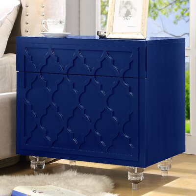 Fiora 2 Drawer Nightstand Color: Navy Blue