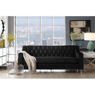 Marlowe Tufted Sofa Upholstery: Black