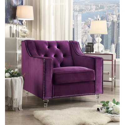 Marlowe Tufted Armchair Upholstery: Purple